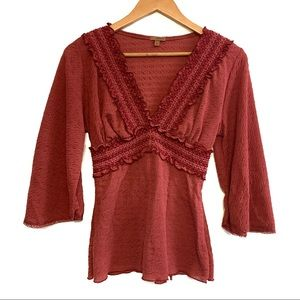 Arden B Boho Embroidered Short Sleeve Top Size Med